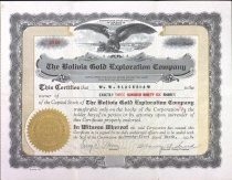Image of Stock certificate for the Bolivia Gold Exploration Company, 1928