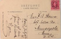 Image of Postcard from Vexiö, Sweden, sent by Knut to Frances Stowe, 1907