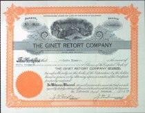 Image of Knute Ekman's stock certificate for the Ginet Retort Company, 1927