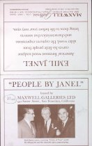 """Image of Card for Emil's exhibit """"People by Janel"""" at Maxwell Galleries, undated"""
