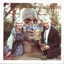 Image of Photo of Emil Janel with wife Greta and a few of his sculptures