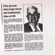 Image of Carl Nelson obituary, undated