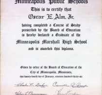 Image of Oscar E. Alm Jr. diploma from Marshall HS in Minneapolis, 1936