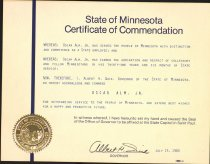 Image of Commendation for Oscar Alm's service as a state employee, 1980