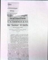 """Image of 1923 Med """"Stockholm"""" till Amerika clipping"""
