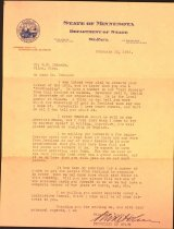 Image of Letter to Gustaf Johnson from MN Secretary of State, 1938