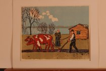 Image of Man with Oxen Tilling Land -