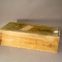Image of Unpainted wooden box with sliding top.                  