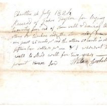 Image of receipt from Walden Goodell for laying stone wall ($15) for John Taylor - 1968.020.1250