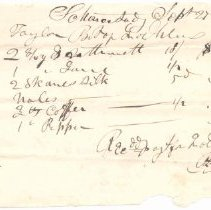 Image of Reciept for silk, coffee and other items totalling $7.05 - 1968.020.1290