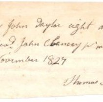 Image of Notice of receipt of $8 stipend for Rev. John Chancey by John Taylor, taken by Thomas Sweetman, trustee - 1968.020.1312