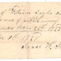 Image of Receipt of William Taylor for public money $2.43 to be applied to term ended Oct 25, 1828 to Isaac H. Johnson - 1968.020.1322