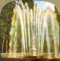 Image of Stereographic view of Imperial Fountain, Peterhof  Palace, Russia; colored                                                                                                                                                                                     - 1976.079.0001W