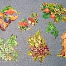 Image of Seven, cut, lithographed, pressed paper cards:  a) leaves and foliage, b) tropical birds, c) lady with kimono and umbrella, d) bunch of strawberries, e) violets and lilies of the valley, f) leaves, g) fuchias, bachelor's buttons         - cards