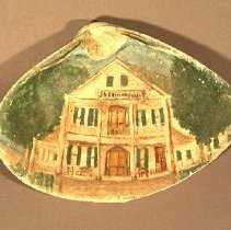 Image of Clam shell painted with front view of Sherman Hotel                                                                                                                                                                                          - painting