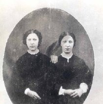 Image of   Black and white photo of Emmeline Coyle (left) Wallace and her twin sister Catherine Coyle (right) Connolly - 1990.048.0118