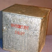 Image of This insulated box was used by Al Lounsbury at his home at 212 Nelson Avenue, Saratoga Springs for deliveries from Harold L. Hall's Brookside, Hall's dairy farm in Greenfield Center, NY.  Brookside was founded in 1924.