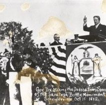 Image of Copy of 1912 photograph of Governor Dix making the dedication speech of the Saratoga Battle Monument, October 18                                                                                                                                               - 1979.136