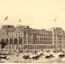 Image of Front exterior view of the United States Hotel, Broadway.  Horses and carriages on streets.  Probably a souvenir; statistics of hotel on back listing number of rooms and their amenities, etc.                                                                - 1980.032.0001