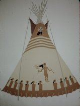 Image of PERSON TIPI OF MARY JANE AND FISH WOLF ROBE,PIEGAN