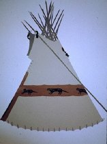 Image of SINGLE CIRCLE OTTER TIPI OF MARY CHEWING BLACK BONES AND CHEWI