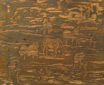 Image of woodblock, brown horses
