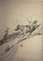 Image of (2 Indian men on horses in a cattle stampede)