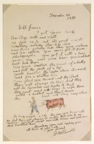 Image of letter, illus. To Will James, man leading a cow