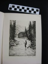 Image of etching, untitled, fly fisherman on river,