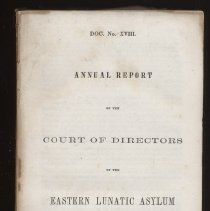 Image of RC445 .V8 1855 - Annual Report to the Legislature, Virginia.  1854-1855.  Includes Eastern and Western Lunatic Asylum.