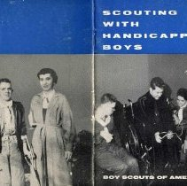 """Image of HS3313 .B69 1957 - Booklet: """"Scouting with Handicapped Boys"""" by the Boy Scouts of America, New Brunswick, New Jersey.  Contains photos and pictures."""