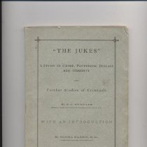 """Image of HV6125 .D78 1877 - Book: """"The Jukes A Study in Crime, Pauperism, Disease and Heredity"""" by R. L. Dugdale, published by G. P. Putnam's Sons: New York."""