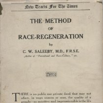 """Image of HQ752 .S32 1911 - Book: """"The Method of Race Regeneration"""" by C.W. Saleeby, M.D.F.R.S.E.,  published by Moffat, Yard & Company: New York.    A book about eugenics and methods of bettering the race."""