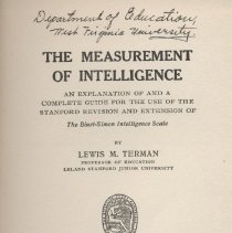 """Image of LB1131 .T4 - Book: """"The Measurement of Intelligence"""" by Lewis Terman, published by the Houghton-Mifflin Company: Boston-New York-San Fransisco.  Guide/textbook to intelligence testing in 1916."""