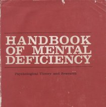 """Image of BF435 .E55 1963 - Book: """"Handbook of Mental Deficiency"""" edited by Norman Ellis, published by McGraw-Hill Book Company: New York.  A collection of essays."""