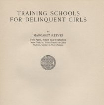 """Image of HV9104 .R4 1929 - Book: """"Training Schools for Delinquent Girls"""" by Margaret Reeves published by Russell Sage Foundation: New York."""