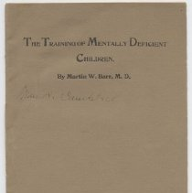 """Image of LC4601 .B3 1902 - Book: """"The Training of Mentally Deficient Children"""" by Martin W. Barr, M.D., published by the Elwyn Boys, Printers.  Chief Physician at Pennsylvania School for Feeble Minded Children in Elwyn, PA."""