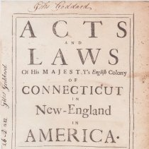 Image of KFC3625.2 1752 - Acts and Laws of His Majesty's English Colony of Connecticut in New England in America  color copy of title page