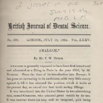 """Image of Bound Journal: """"British Journal of Dental Science"""" No. 588 Vol. 35 including article """"Imbecility and Its Connection with Oral Deformities"""" by W. R. Tuke."""