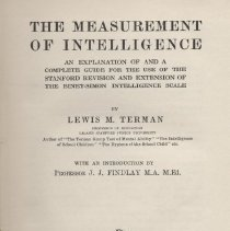 """Image of BF431 .T47 1937 - Book: """"The Measurement of Intelligence, An Explanation of and a Complete Guide for the Use of the Stanford Revision and Extension of the Binet-Simon Intelligence Scale"""" by Lewis M. Terman, published by George G. Harrap & Co. Ltd.  London Bombay Sydney Prin"""