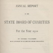 Image of HV88 .N7 1911 v3 - Annual Report of the State Board of Charities For The Year 1910   Statistical Appendix  to Volume One Summary and Analysis of Statistics of Charities