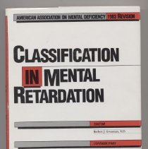Image of RC570 .C515 1983 1 - Classification in Mental Retardation edited by Herbert J. Grossman
