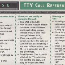 Image of TTY Call Reference Card