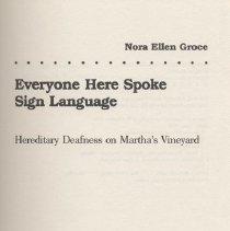 Image of HV2561.M49 G76 1985 - Everyone Here Spoke Sign Language Hereditary Deafness on Martha's Vineyard Harvard University Press Cambridge , Massachusetts