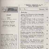 Image of RC569.7 .M46 - Mental Retardation  Vol. 1-2 , bound collection of Mental Retardation , A Bi-Monthly Publication of the American Association on Mental Deficiency. Vol. 1-2  February , 1963- December, 1964