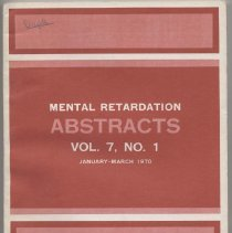 Image of RC570 .M4 1970 - Mental Retardation Abstracts Vol. 7 ,No. 1 January- March 1970 Mental Retardation Abstracts is prepared under contract with the American Association for Mental Deficiency