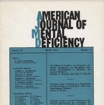 Image of RC326 .A415 1972 - American Journal of Mental Deficiency Volume 76  , No. 5 , pp. 499-609  March 1972  The Effect of Positive and Negative Reaction Tendencies on Receptive Language Development in Mentally Retarded Children by William F. Gayton and John E. Bassett.......499 Imitative Sign Training as a Facilitator of Word-Object Association with Low-Functioning Children by Diane D. Bricker....509 Stimulas Factors in Skill Training of Retarded Adolescents on a Complex Assembly Task: Acquisition, Transfer, and Retention by Marc W. Gold.......517 Verbal Mediation and Perceptual Transfer in Nonretarded and Retarded Children by Sue Rosenberg, Phyllis A. Katz and Barry Karp..527 Lexical Usage of Mentally Retarded and Nonretarded Childen By: Barbara Lozar,Joseh M Wepman, and Wilbur Hass....534                                                                                                                        Comperrehension of possessive and Present Continuous Sentences by Nonretarded, Middly Retarded and Severly Retareded Children By: Paul B. Berry.......540 Behavioral Correlates of Level of  Intellgence By: Robert Ross.....545 Digital Skin Temperature as a Physiological Correlate of attention in Nonretareded and Retearded Childredn By: William F. Landers, Steven E. Ball, and Chatles G. Halcomb......550 A Survey of Visual Skills of institutionalized Retardede patients By: James R. Evans, Harry Wachs, and Joanne M. Borger.....555 Autitory and Visual Paired- Associate Learing in First Grade Retarded and Nonretarded Children By:Robert H. Bruinks and Charlotte R. Clak.....561 Preferences in Instutionalized Sevrely Retarted Children for Selected Visual Stimulus Material Prefernted as Operant Reinforement By: John E. Rynders and Bernard Z. Friedlander.....568 Prediction of  Vocational and Social Skill Acquisition in a Developemtally Handicapped Population: A Pilot Study By: D.W. McKerracher and C.P. Orritt.....574 Incidental Learing in Nonretarded and Retarded Childre
