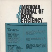 Image of RC326 .A415 1972 - :American Journal of Mental Deficiency