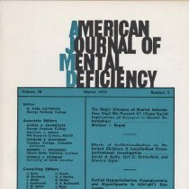 Image of RC326 .A415 1974 - American Journal of Mental Deficiency