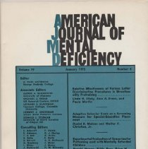 """Image of RC326 .A415 1975 - Utilization of Positon Cues by Retarded Childen in serial Learing,by: Albert A. Maisto and Verne R. Bacharch.....391 Training EMR and Intellectually Average Adolesents of Low and Middles SES Formal Thought, by: James V. Kahn......397 Alternatives to the Design of Manipulating a Variable to Compare Retarded and Nonretarded Subject by: Loren J. Chaman and Jean P. Chaman.....404 Factors Related to the Attitudes of Nonertarded Childen towards their EMR Peers by: Gerald F. Peterson.....412 Probability Learning in  Retarded Childen With  Differning Histories of Success and Failure in School,by: Gerald E. Gruen, Donald R. Ottiner, and Thomas H. Ollendick ....417 Measuring adaptive behavior: the Dynamics of a longitudinal Approach by Barry J. Schwartz and  Robert M. Allen..424 Employee Satifactions in Agencies Serving Retarded Person, by: Brain P.V. Sarata......434 Effects of Temporal Grouing and Redundancy Level on the Paired-Assiate Learning of  Retarded Adolescents and Nonretarded Childen, by': Suzanne V. Borys and Herman H. Spitz.........443 Effects of  Verbal Rehersal on Discrimination Shift  Despite Overtraining and Verbal Feedback, by:Harold Lobb...449 Low-IQ Deficit in Intradimensinational Discrimination Shift Overtraining and Verbal Feedback, by: Harold Lobb and Daniel Stogdill.....455 BRIEF REPORTS Perceptual-Motor Testing of Mentally Retarded Person, by:Phil S. Shurrager, John T Klebba and Leon L. Gershbien.....462 A Black Female with 48, XXXXChromosome Contitution by: Saburo Hara, Bertron D. Haywood, Karen K.Davis, Martin V. Sherrill, Alfreda Blackshear, and E. Peery Crump......464 Book Reviews """"Alfred Binet"""" by theta H. Wolf, reviewed by Henry Leland.....467 """"Brain and Intelligence: The ecology of Chil Development,"""" edited by Frederick Richardson,  reviewed by Gerald Kissin...........468 """"Latino Mental Health: A Review of  Literaure,"""" by Amado M. Padilla and Rene A. Ruiz, review by :John D. Swartz and Keith F.Bell.......468 """" Souls i"""